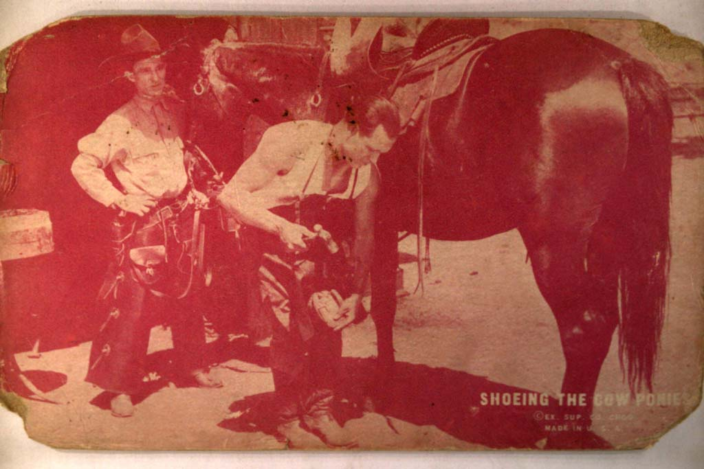 1920's Putting Horseshoes On Horse - Western Film Movie Arcade Card y4211
