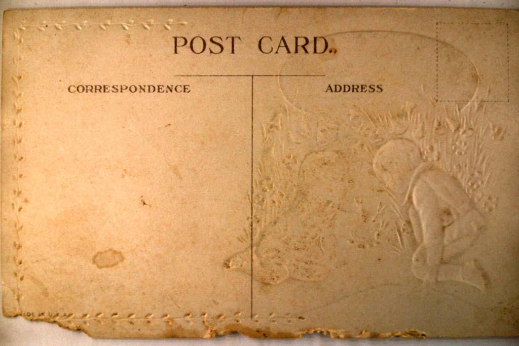 pre-1920 GIRLS FIND HIDING BUNNY RABBITS - Easter postcard y4288