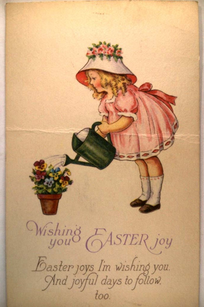 1929 Girl With Watering Can & Flowers - Cute Easter Postcard y4428