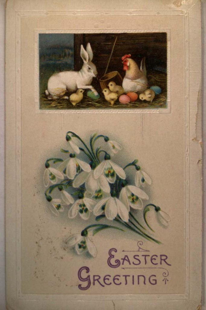 1913 Bunny Rabbit With Chicks & Eggs - Cute Easter Postcard y4456