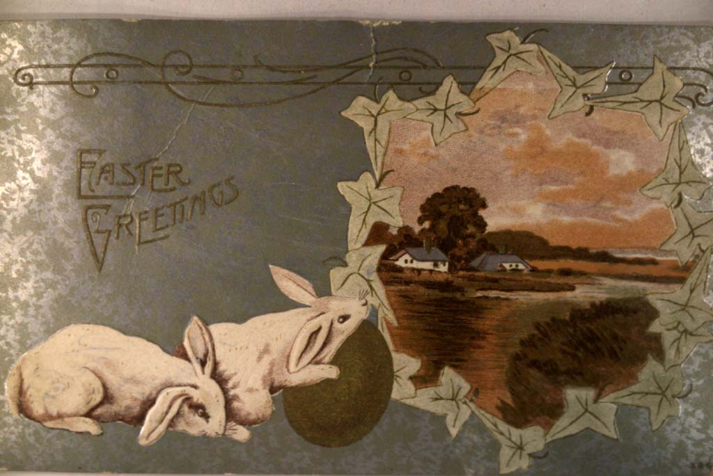 pre-1915 BUNNY RABBITS PLAYING WITH LARGE EGG - Easter postcard y4491