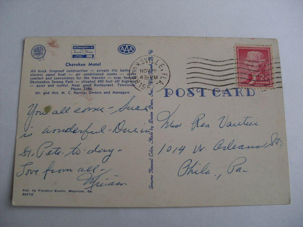 1957-Cherokee-Motel-In-Waycross-Georgia-GA-Postcard-Okefenokee-Swamp-Park-y6836 thumbnail 2