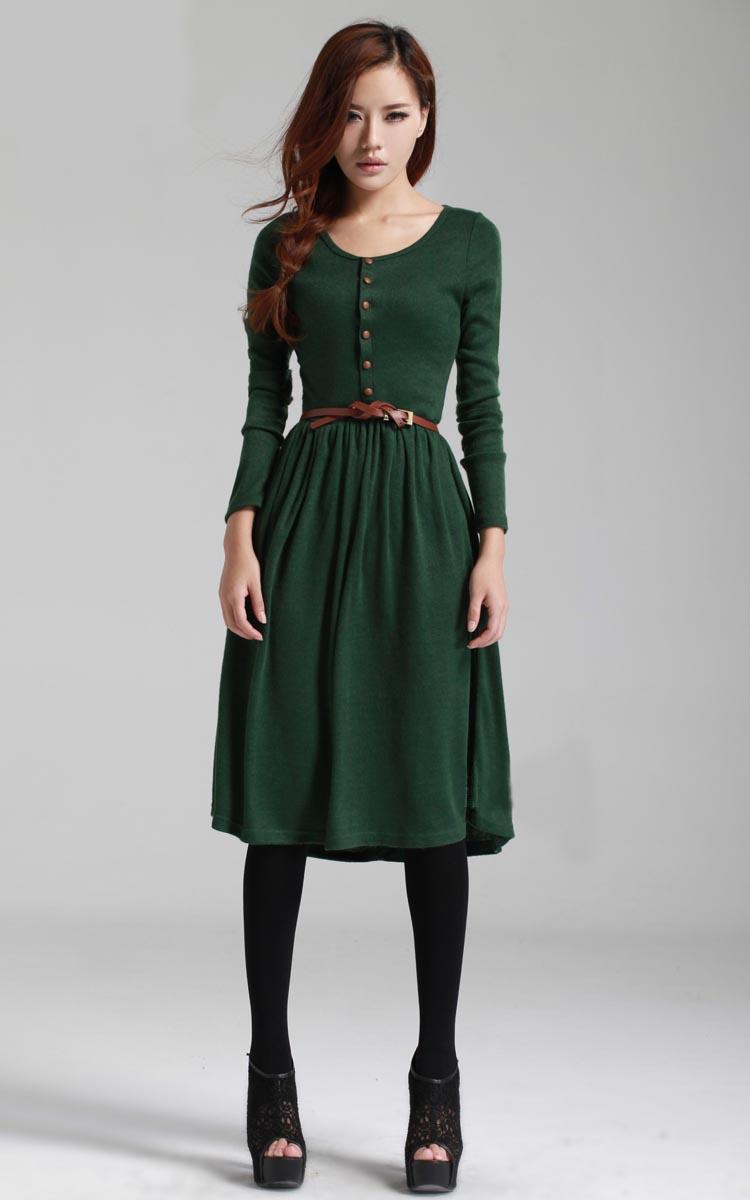 Фото платье до колен зеленое