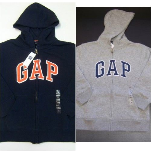 NWT-Boys-GAP-KIDS-Arch-Logo-HOODIE-Sweatshirt-JACKET-S-6-7-M-8-L-10-Zip-Up-NEW
