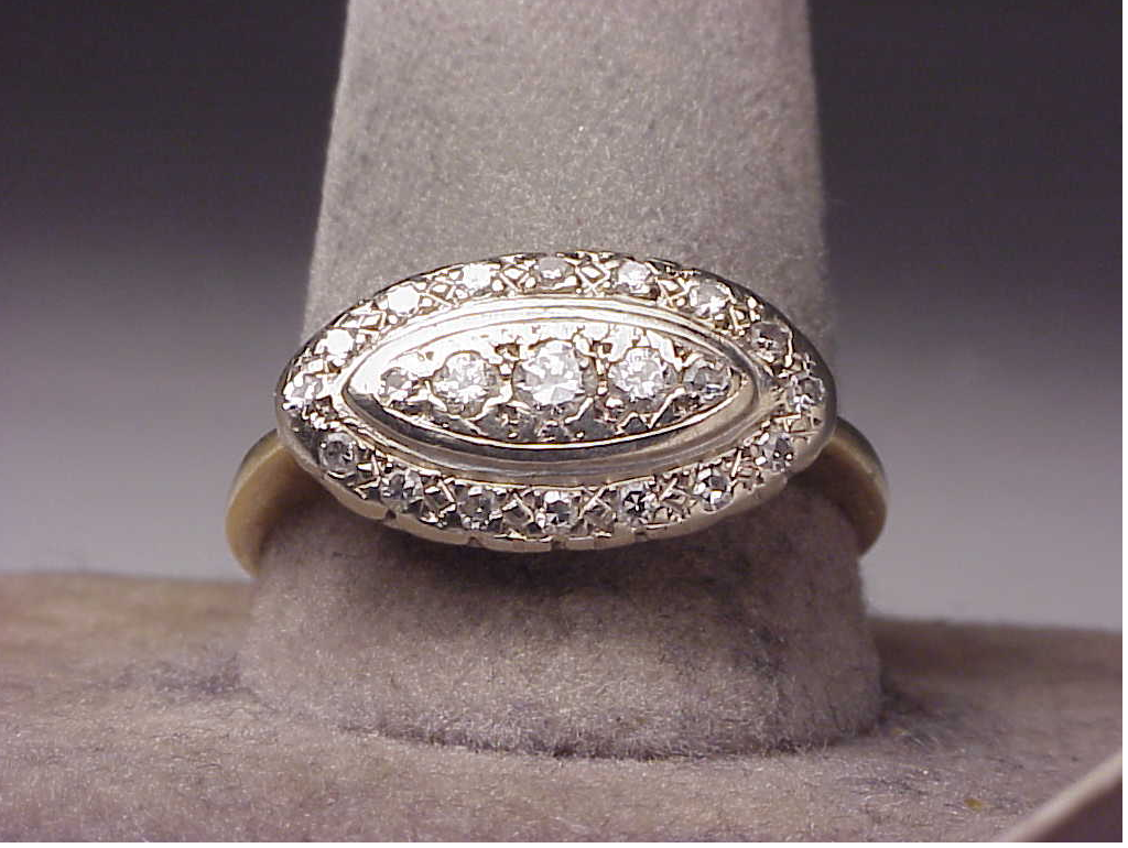 large antique 14k two tone gold 47 ct dinner