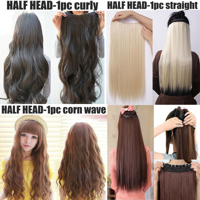 clip in hair extensions half full head one piece synthetic