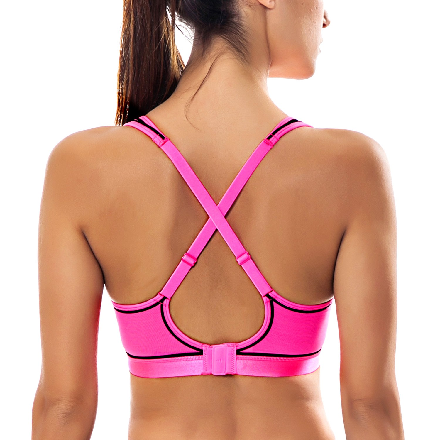 Women/'s Med Impact Wirefree Padded Contour Cross Back Workout Sports Bra