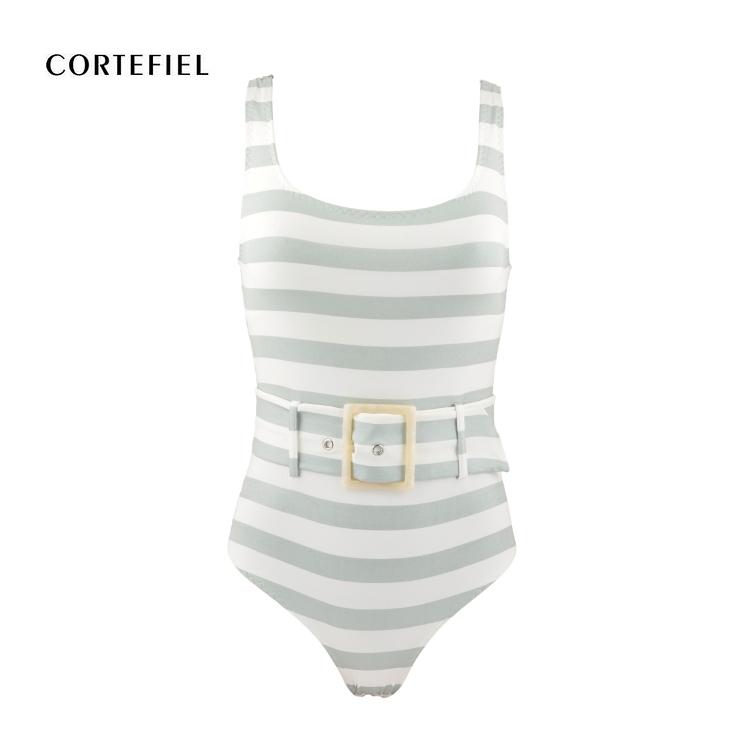 One Piece Stripe Belt Shaping Swimsuit Swimwear 8 10 12 14