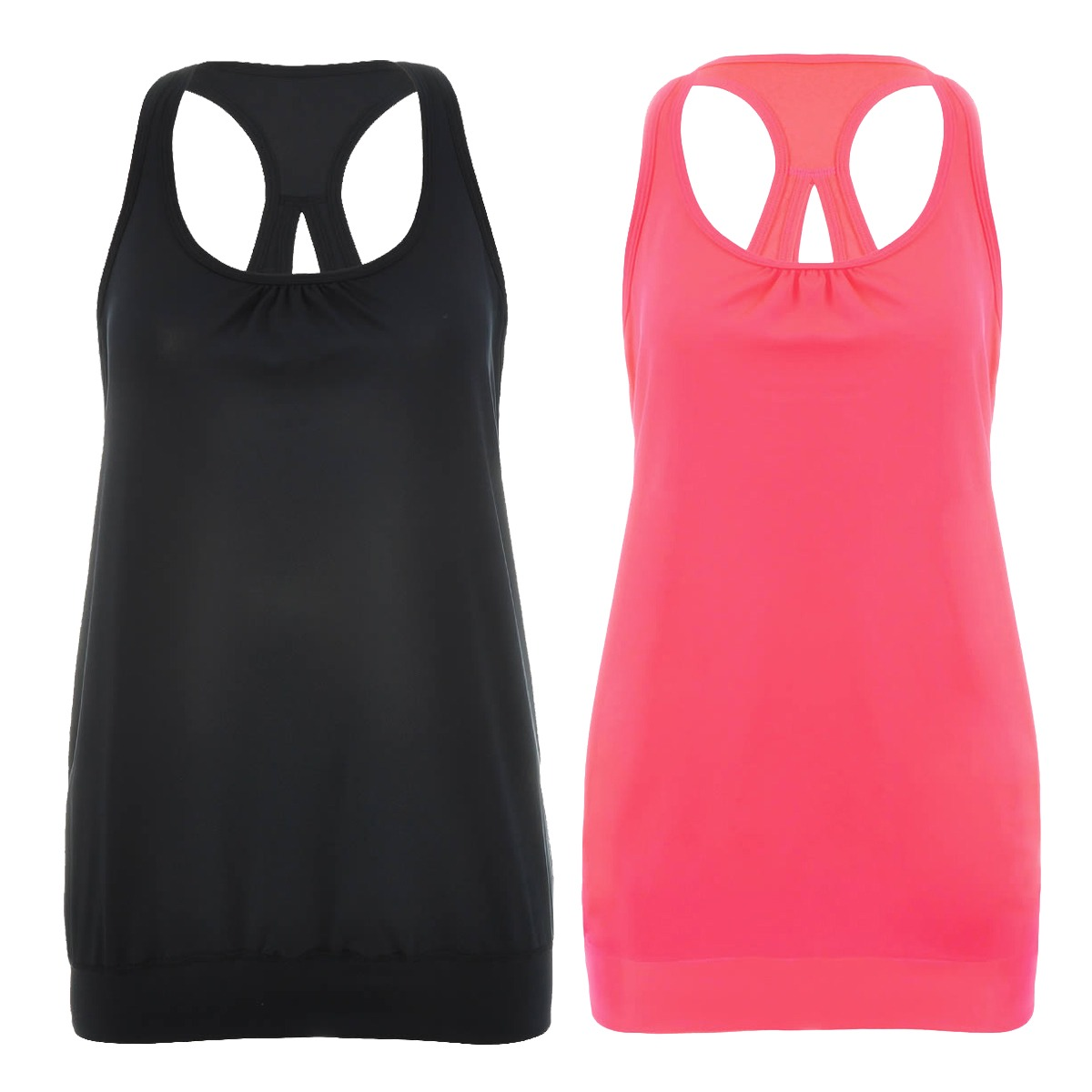 Women-039-s-2-Pack-Active-Racerback-Athletic-Sports-T-shirt-Long-Tank-Top