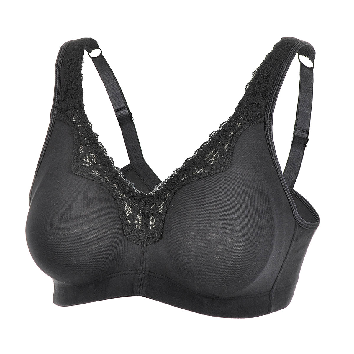 Quality-Lace-Trim-Full-Figured-Soft-Cotton-Wirefree-Plus-Size-Bra-Solid-Color