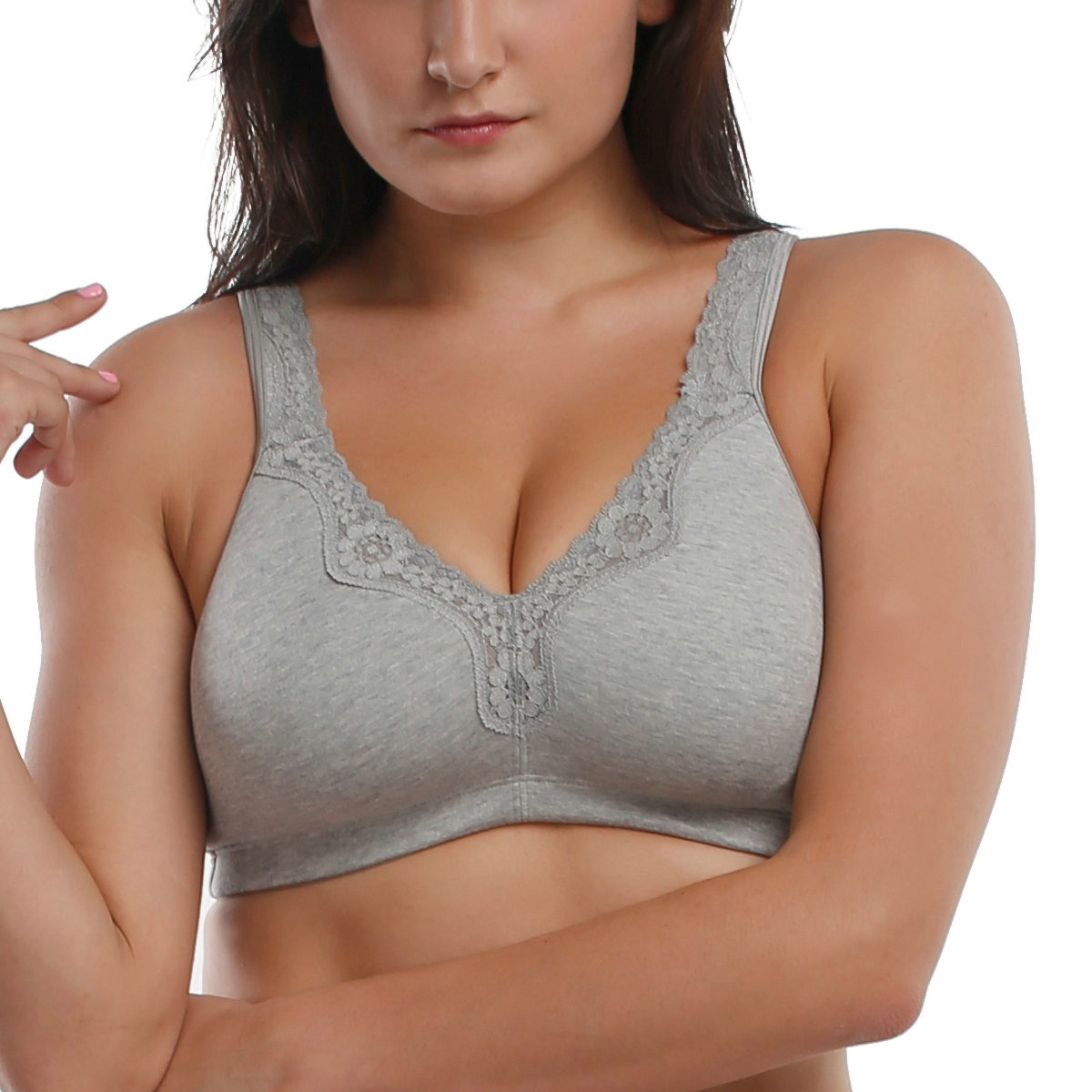 La-Isla-Womens-Cotton-Full-Coverage-Wirefree-Non-padded-Lace-Trim-Plus-Size-Bra