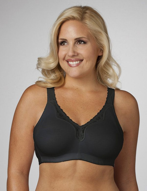 New-Cotton-Wirefree-Full-Coverage-Bra-Black-White-Grey-14-26-B-C-D-DD-DDD