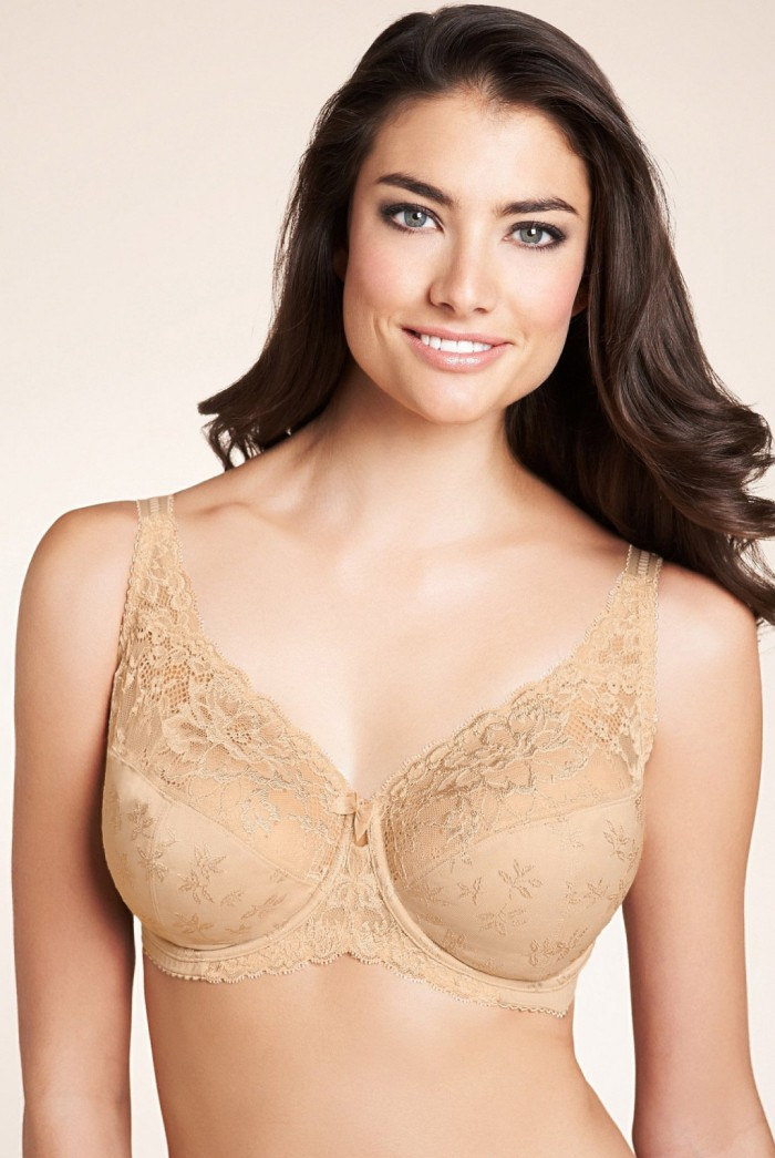 Full-Coverage-Minimizer-Jacquard-Non-Padded-Lace-Sheer-Bra-Black-White-Beige