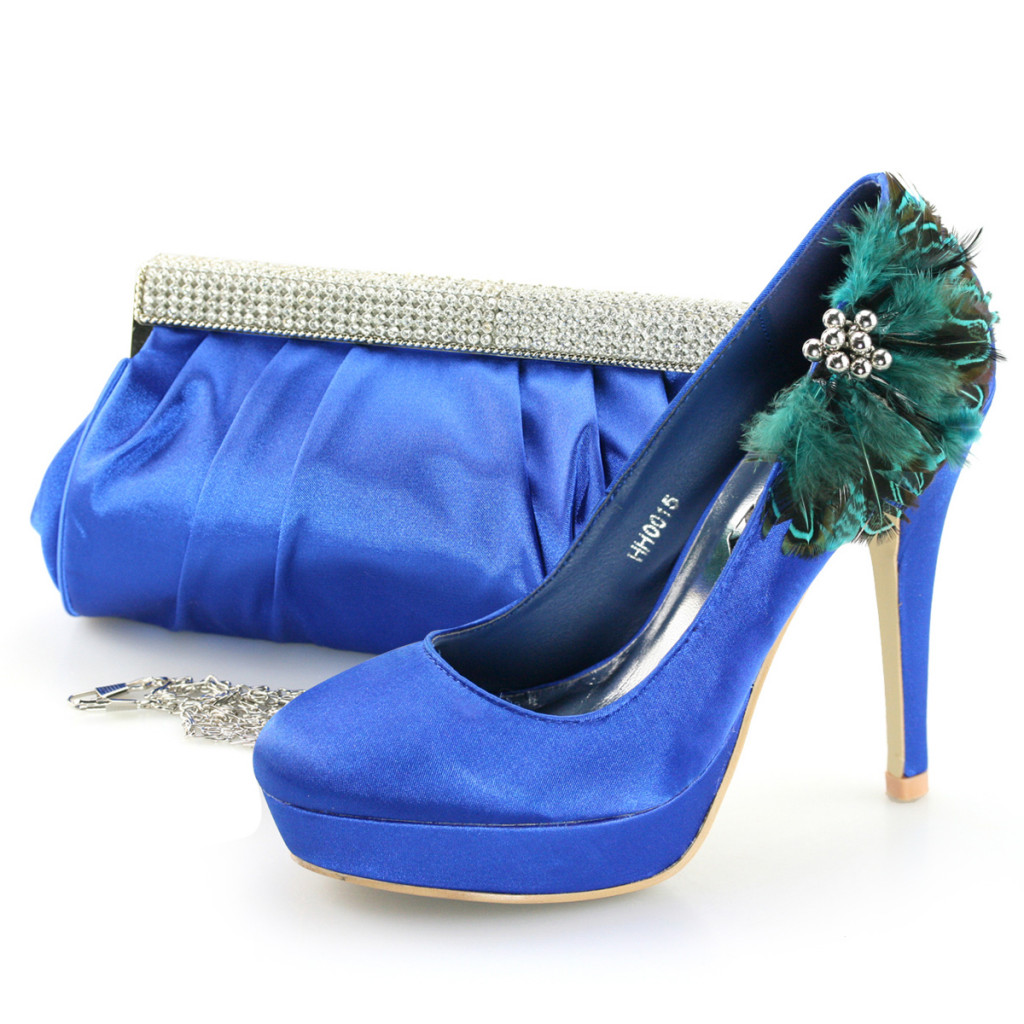SHOEZY Xu0026#39;Mas Womens Blue Satin Feather Bridal Evening Prom Dress Shoes With Bags | EBay