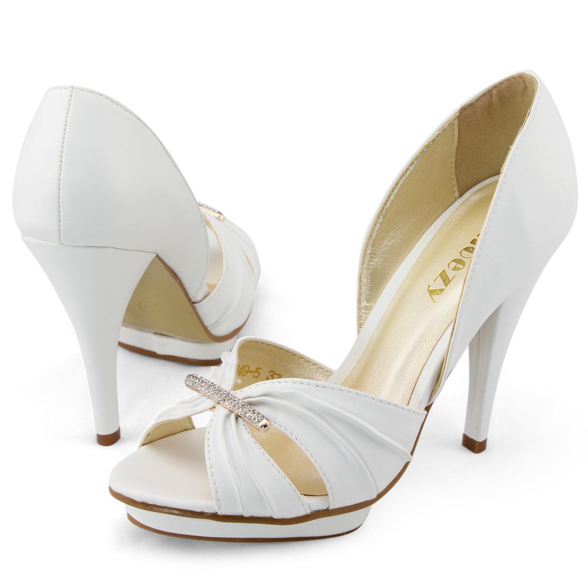 shoezy womens white diamante peep toes platform pumps high
