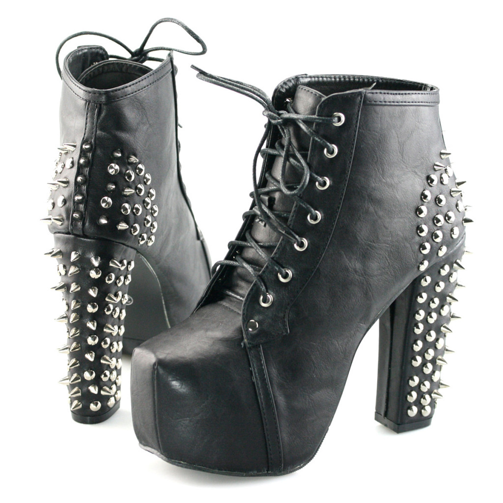 Womens-Platform-Pumps-Lace-Up-Stud-Spike-Punk-Block-High-Heels-Ankle-Boots-Shoes