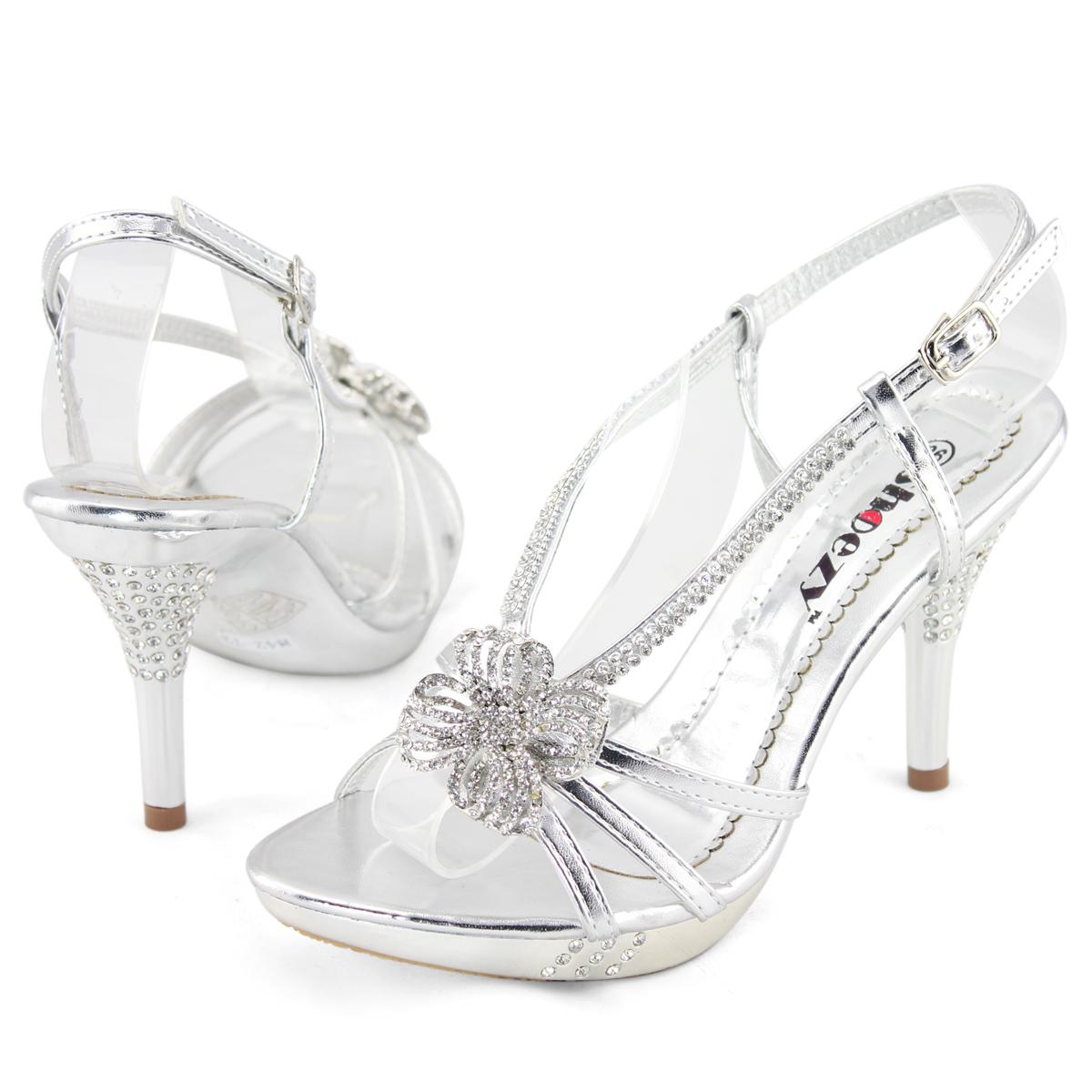 shoezy womens silver diamante platform pumps evening prom