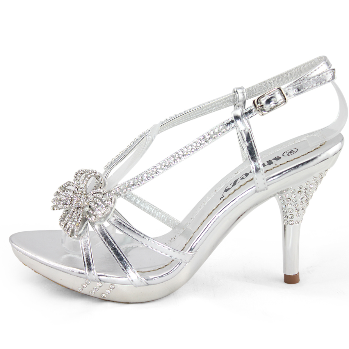 Laides silver satin diamante bridal wedding dresses platform heels shoes size 6