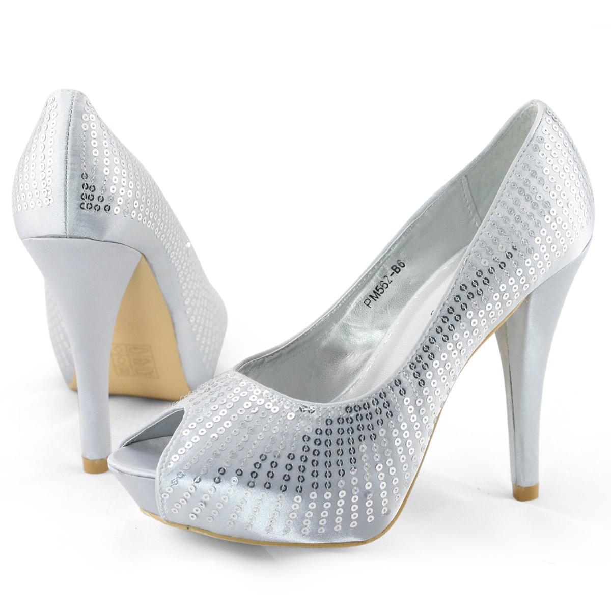 SHOEZY Sexy womens Sequins Open Toes High Heels Platform Court Dress Party Shoes