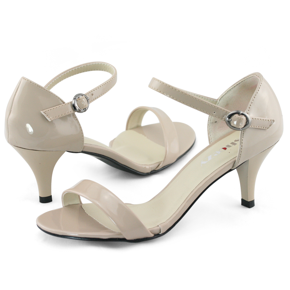SHOEZY Womens ladies Sexy Kitten Heels patent ankle strappy pumps ...