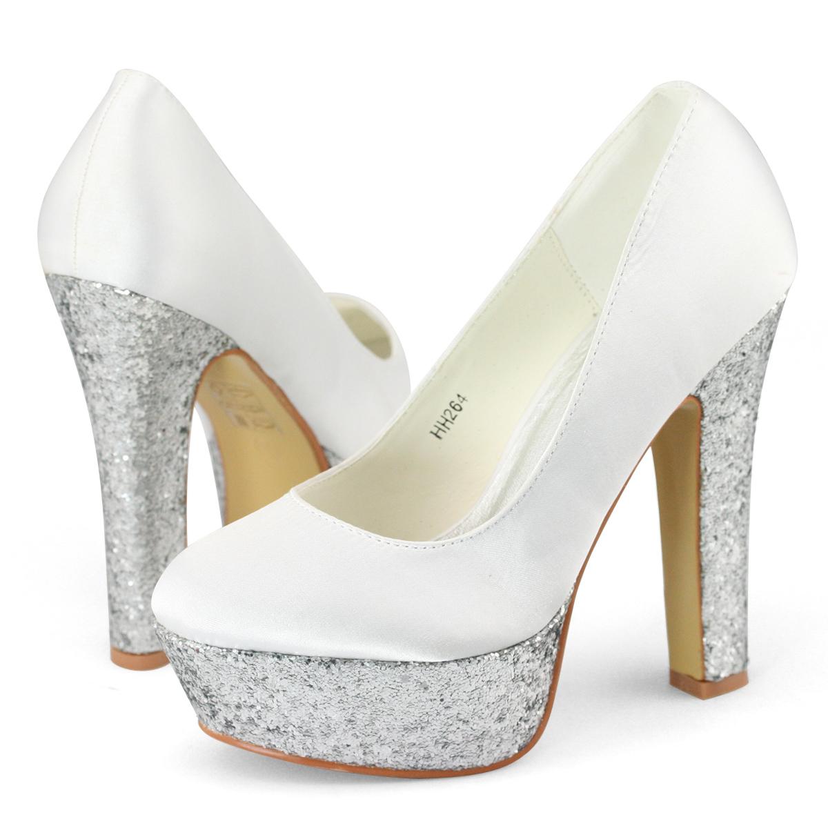 New Ladies High Block Heels Platform Pumps Satin White Silver Wedding Shoes Size