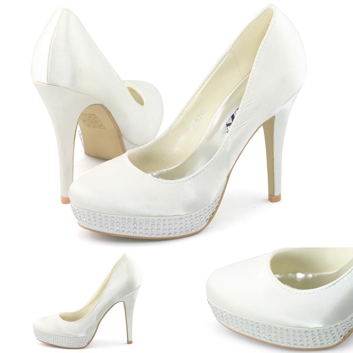 shoezy womens ivory satin platform diamante wedding dress. Black Bedroom Furniture Sets. Home Design Ideas