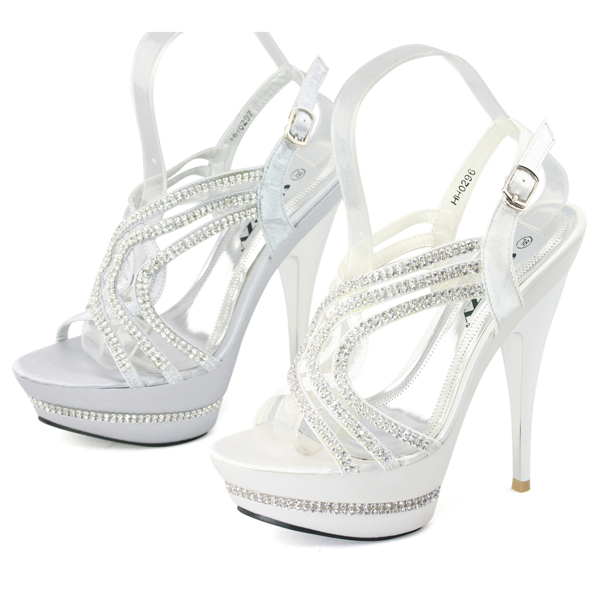 New-ladies-white-silver-satin-strappy-high-platform-diamond-sandal