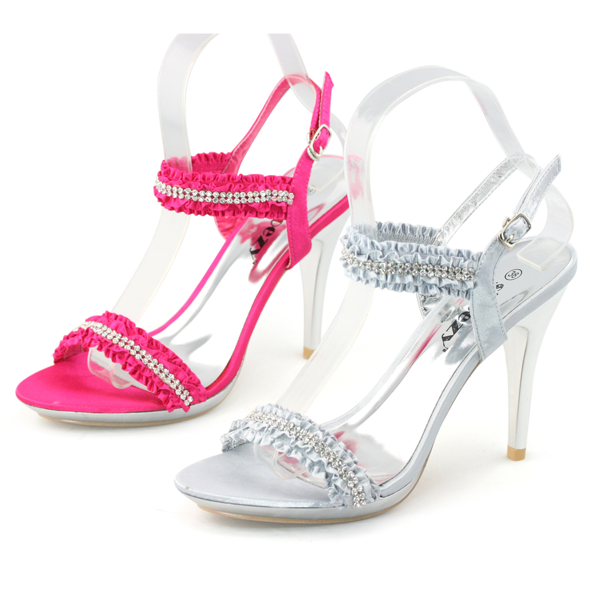 New Ladies diamante high heel ruffle designed sandals evening wedding shoes size
