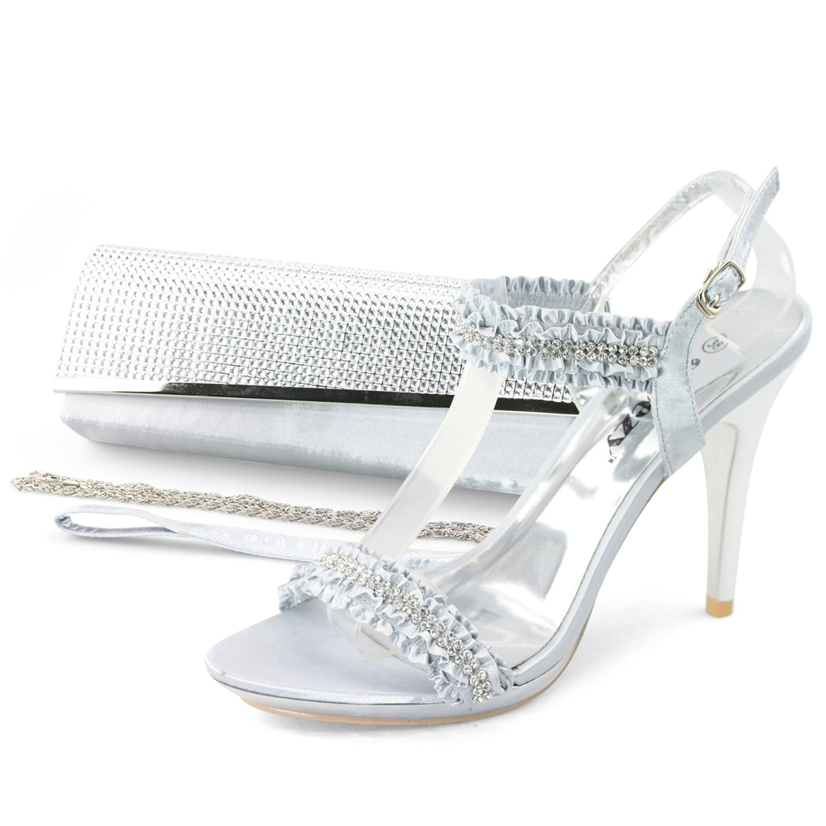 Silver sandals or shoes - Image Is Loading Ladies Silver Diamond Ruffle Sandals Evening Shoes Amp