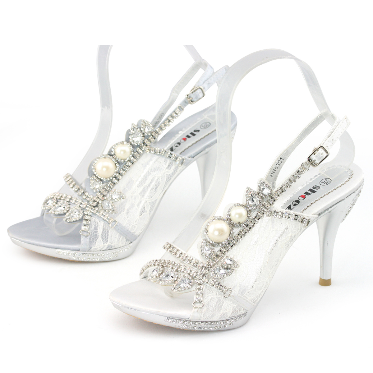 wedding sandals New ladies strappy pearl crystal high platform sandals evening wedding shoes sz
