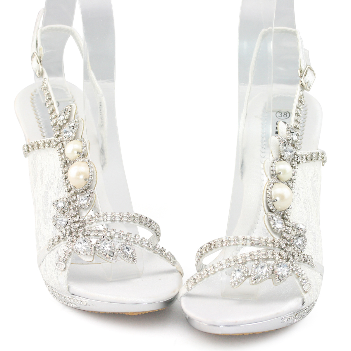 New ladies strappy pearl crystal high platform sandals evening ...
