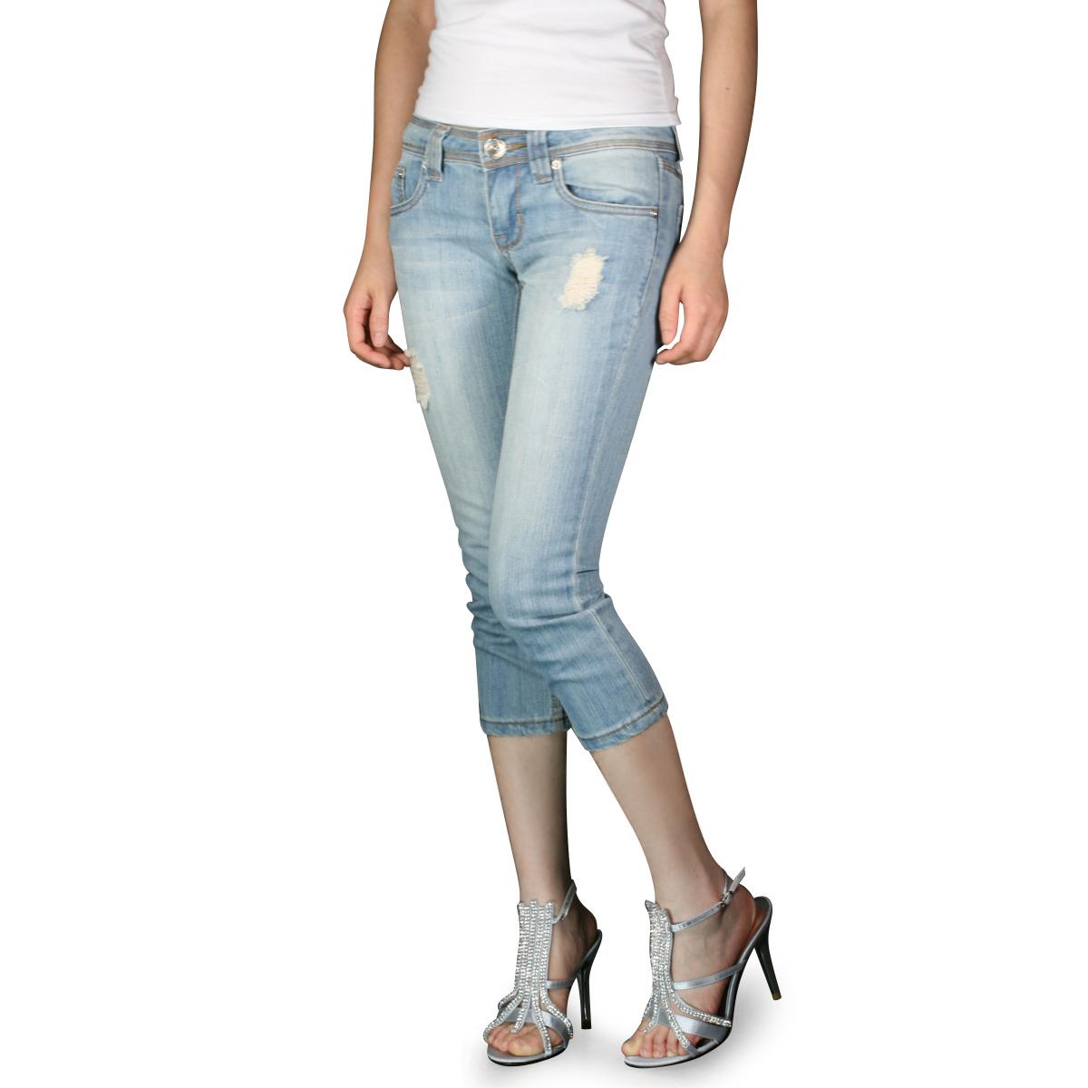 Details about Ladies dress blue ripped capri denim boots slim jeans