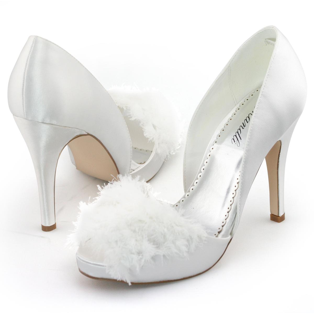 SHOEZY Vintage Womens White Satin Feather Platform Pumps Wedding Dress Shoes