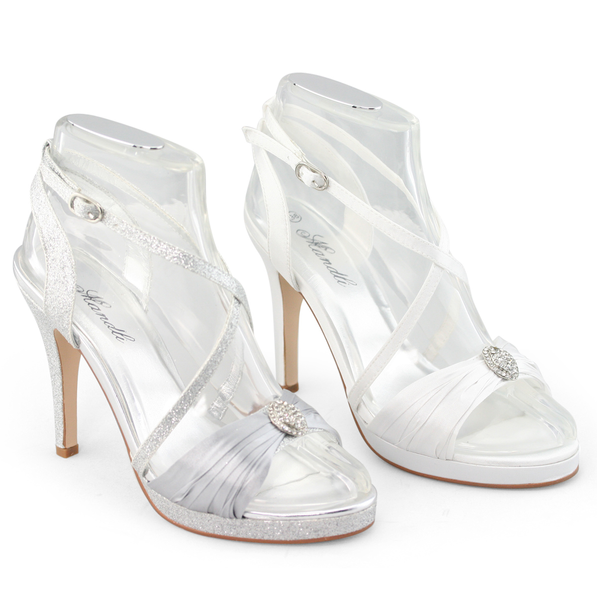 New Ladies white silver diamante high heel strappy sandals evening ...