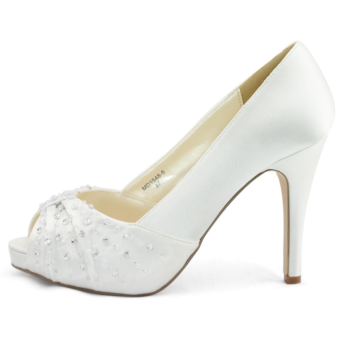Ladies Ivory Satin Diamante Peep Toe Low Heels Evening Wedding