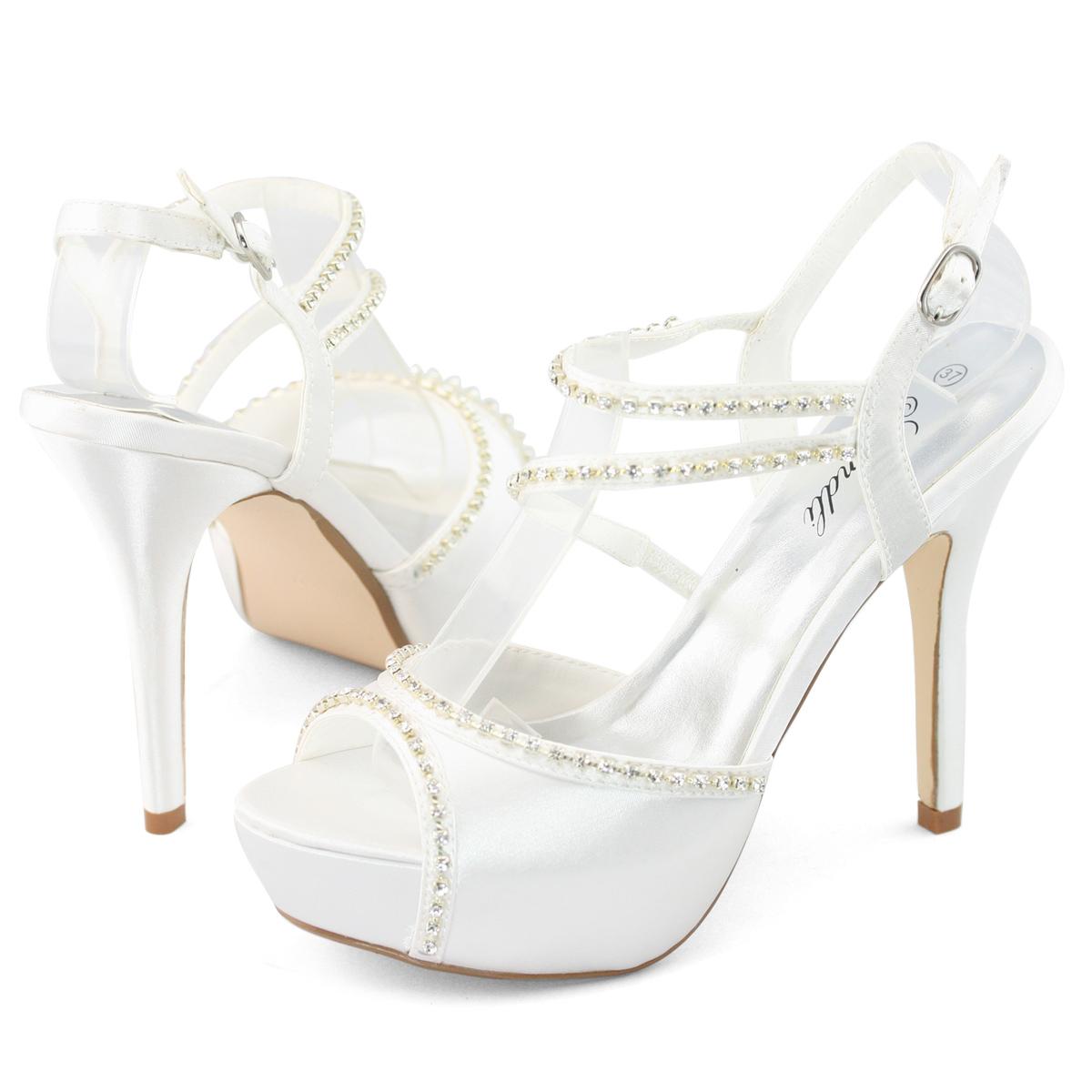 new womens white wedding evening dress bridal pumps high
