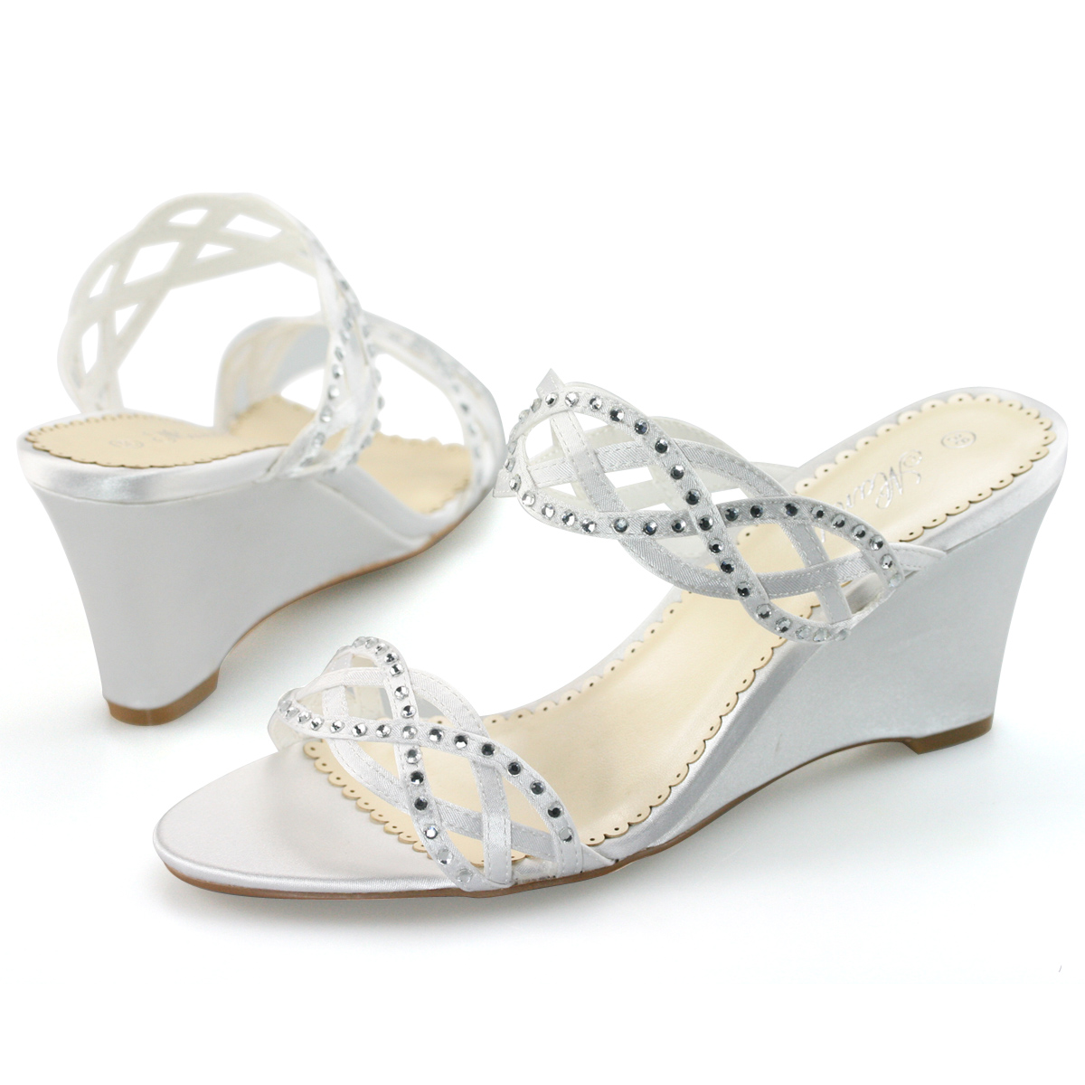 SHOEZY-Womens-Satin-Diamante-Peep-Toes-Wedding-Party-Mules-Wedges-Heels-Shoes-AU