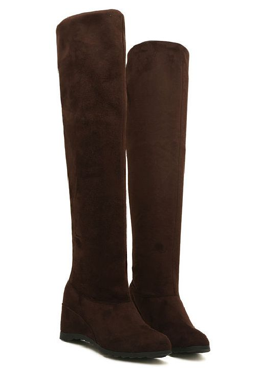 Winter Snow Suede Knee High Increasing Height Wedge Womens Shoes Boots
