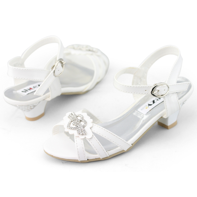 SHOEZY New Little Girls Baby Kids Sandal Pink Black White Low Heel Wedding Shoes