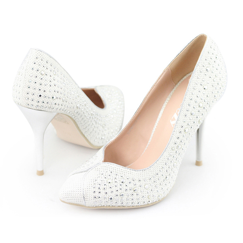 Ladies-Rhinestud-Glitter-point-toes-high-heel-courts-bridal-wedding-shoes-size