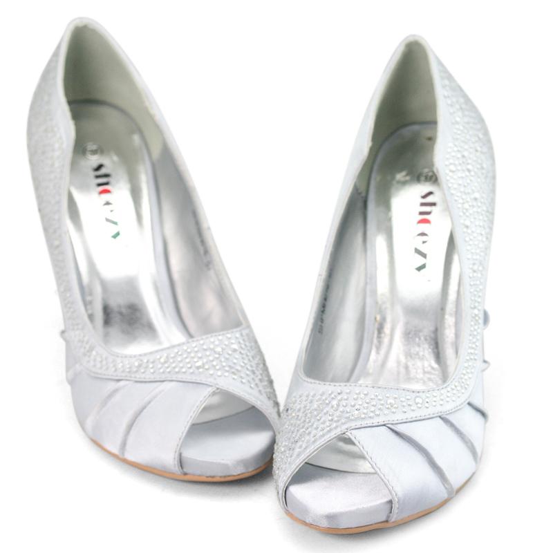 womens diamante silver prom high heel wedding shoes