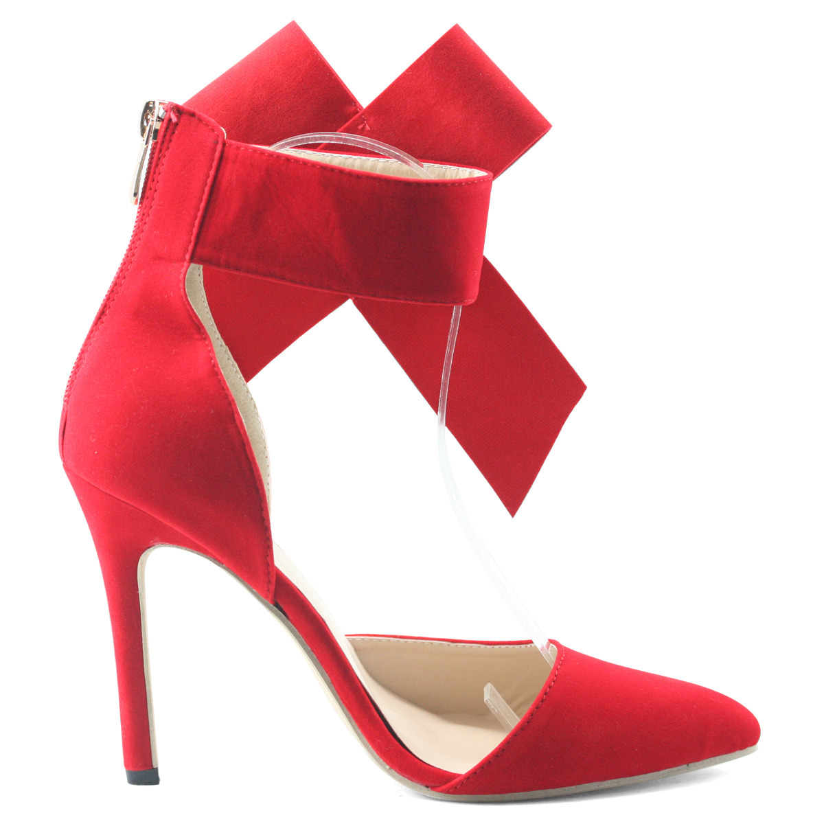 Sexy-womens-red-shoes-pointy-toe-ankle-bow-high-heels-stiletto-wedding