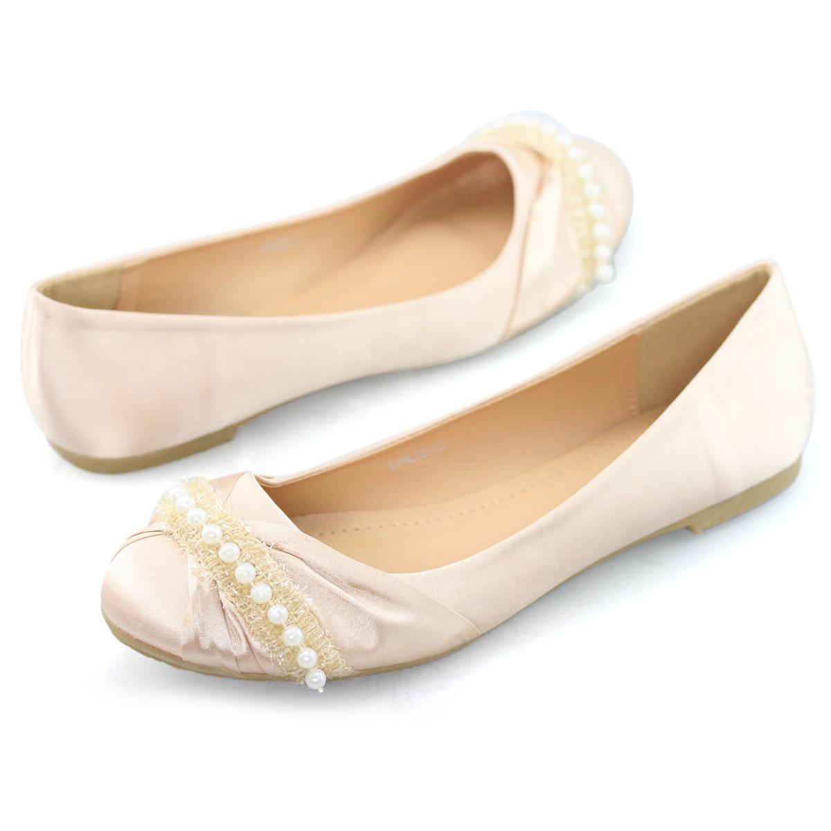new womens flats pearl wedding bridal ballerina prom dress