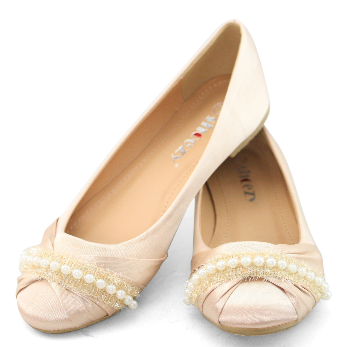 Details about womens white wedding shoes bridal satin flat round toe