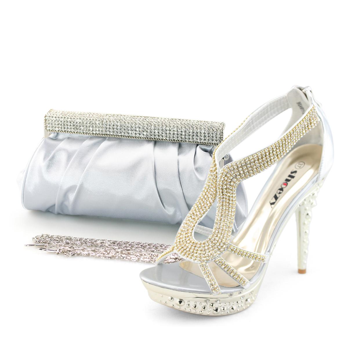 shoezy womens silver diamante high heels sandals shoes