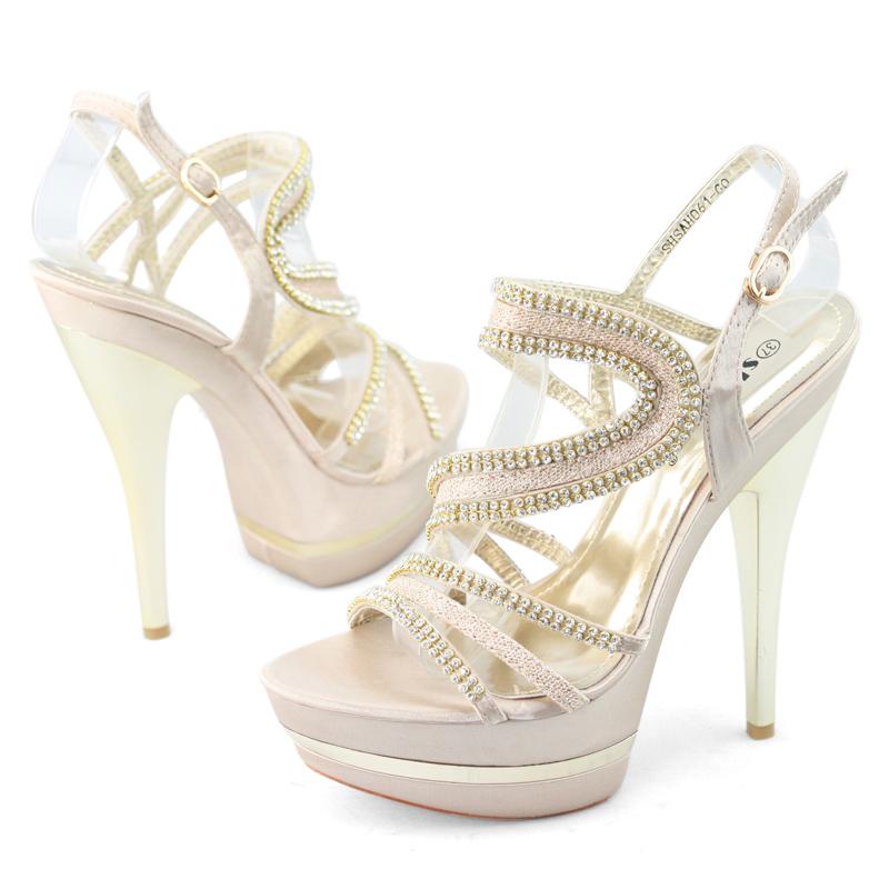 SHOEZY Cheap Womens Crystal Platform Pump Wedding Evening Dress High Heels Shoes