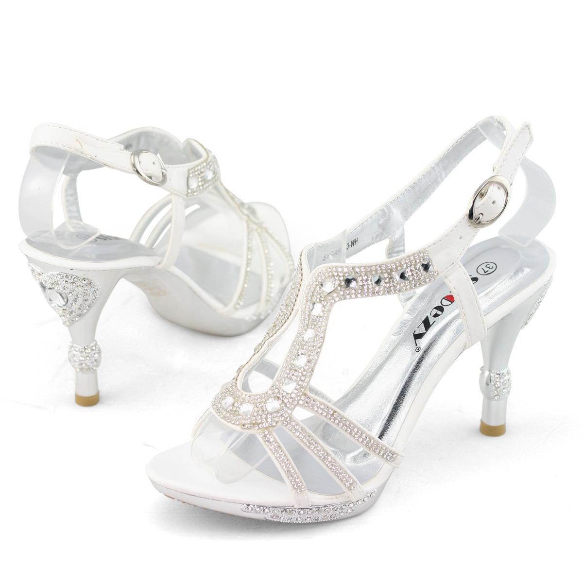 Online Womens Ladies Diamante Low Mid Heel Ankle Strap Prom Dress Wedding Shoes