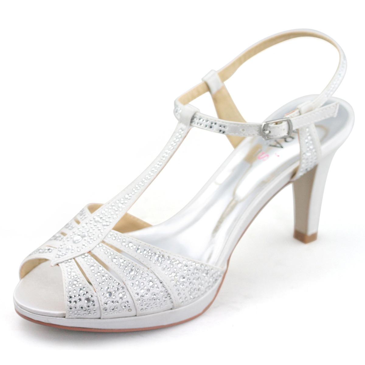 womens silver high heels rhinestones T bar shoes match ...