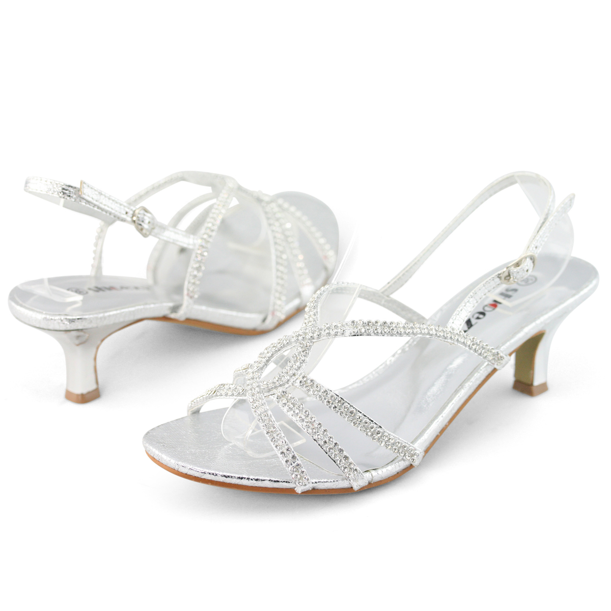 Original WOMENS SLINGBACK STILETTO SANDALS LADIES SATIN DIAMANTE PROM BRIDAL