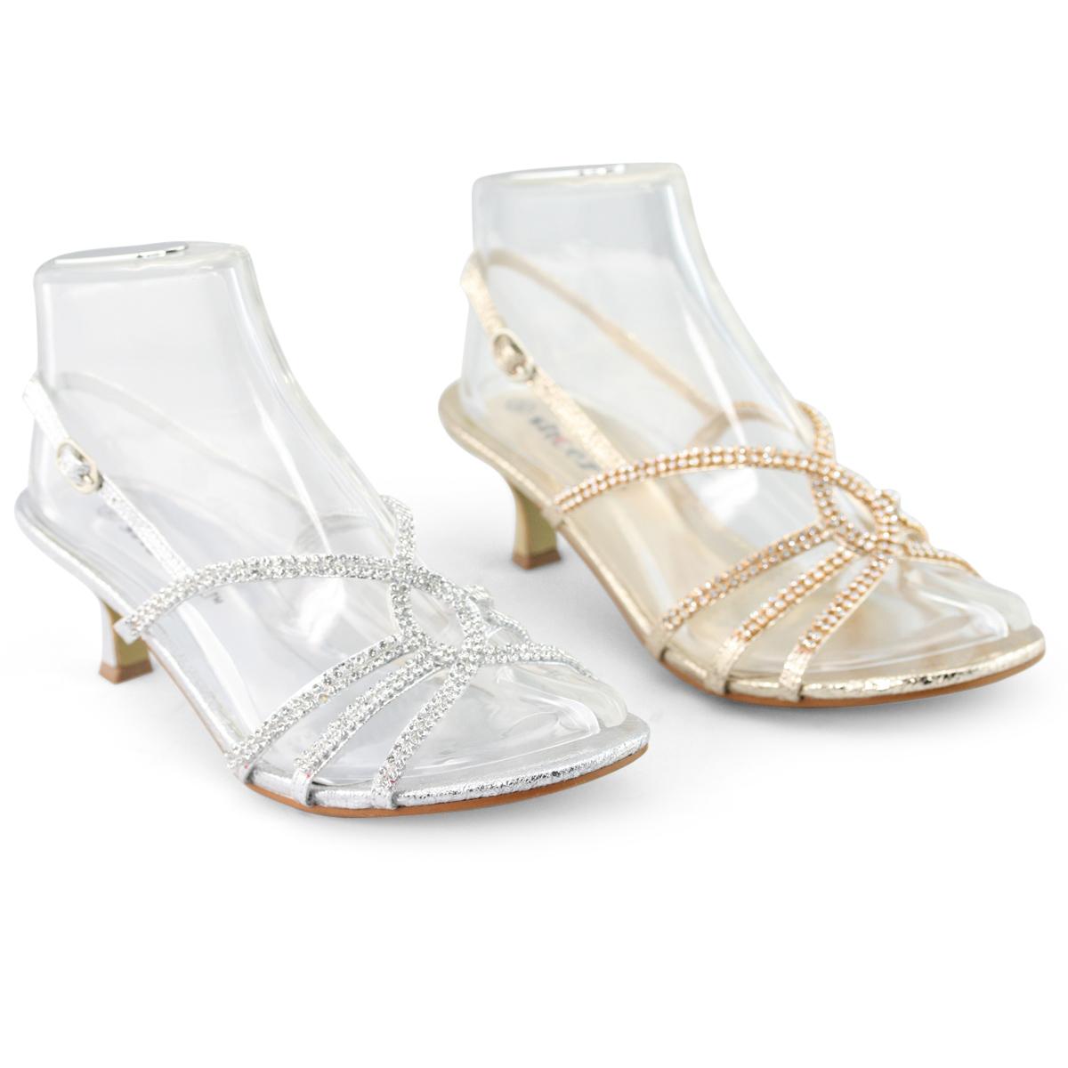 wedding sandals NEW Evening womens diamante strappy kitten high heels bridal sandals shoes